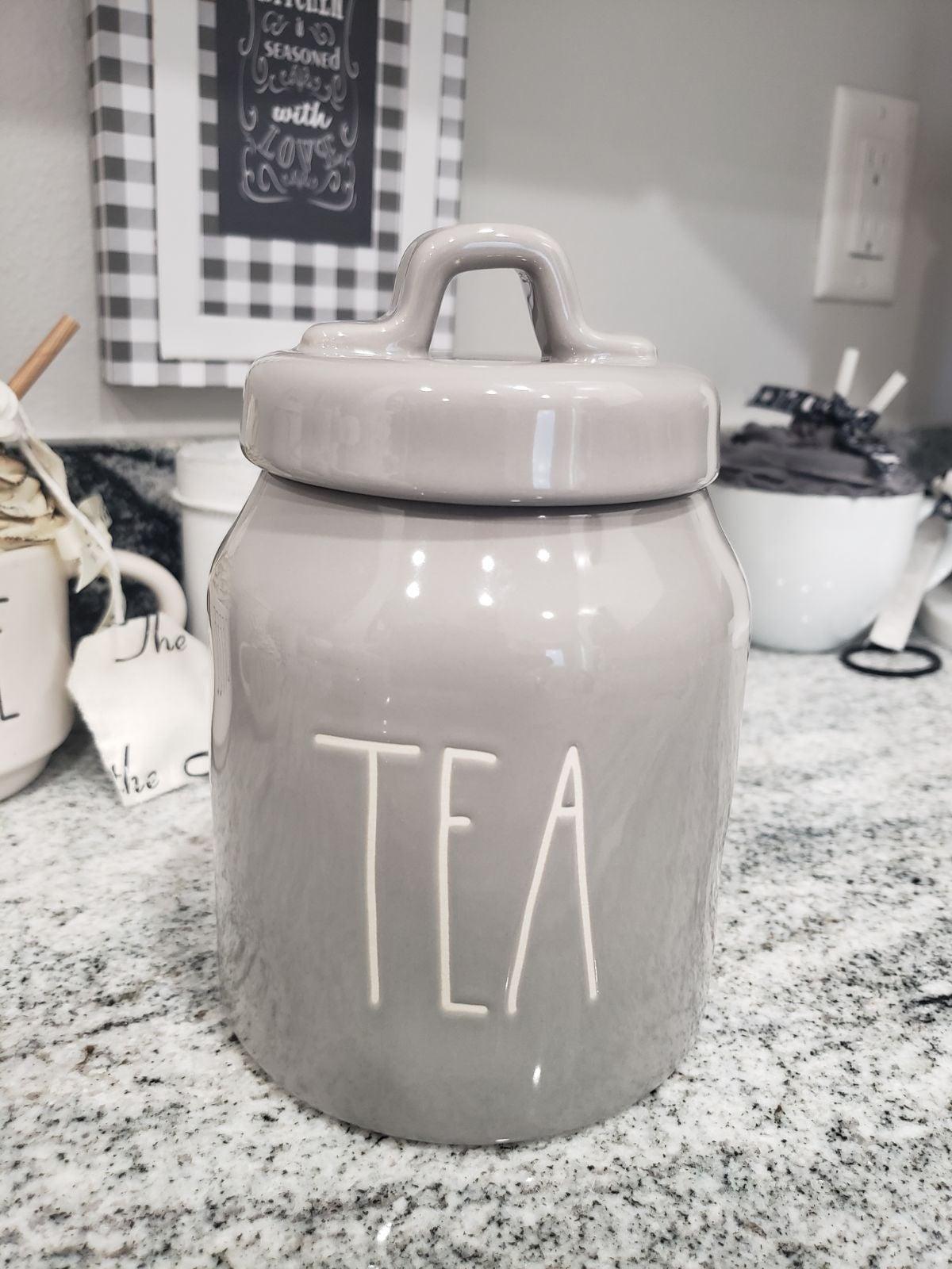 Rae Dunn Tea Gray Canister