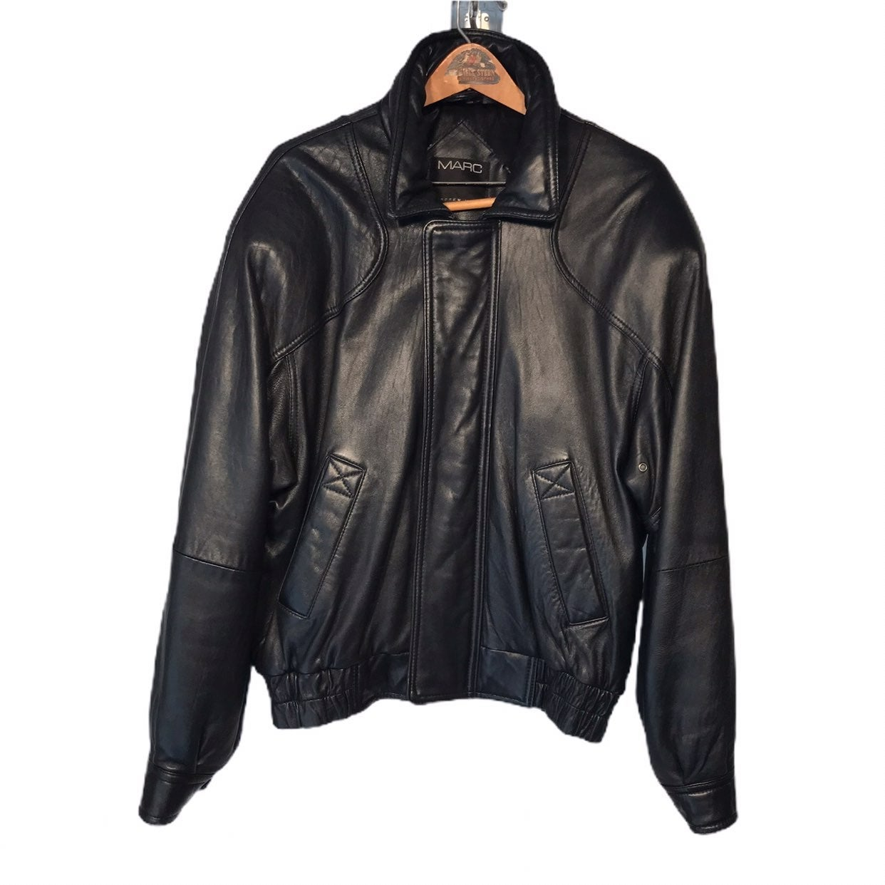 Andrew Marc Black Leather Coat