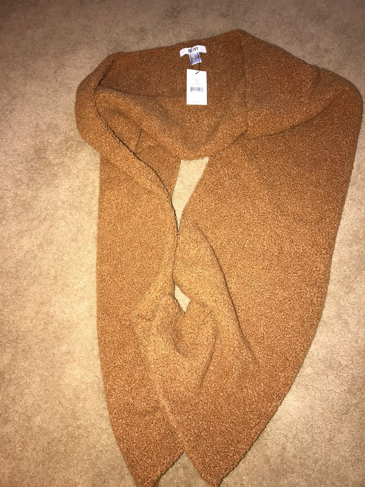 Renvy faux fur sherpa scarf chestnut tan