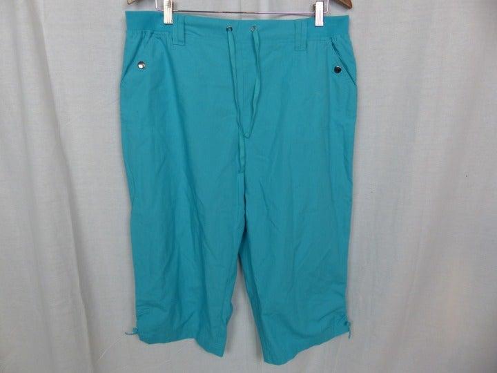 NWT Karen Scott Women's Blue Capri pants Tie Waist 100% Cotton Casual Size XL