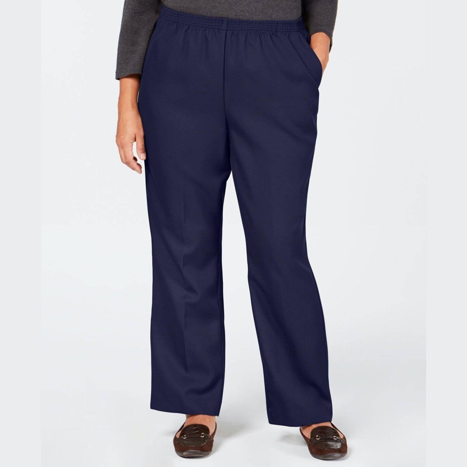 Karen Scott Pants Straight Leg Blue 2X