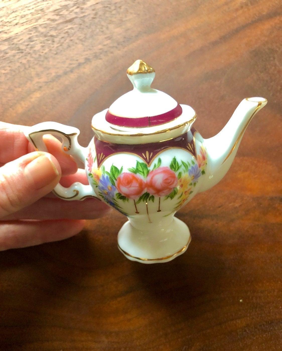Twin Miniature Porcelain Floral Tea Pots