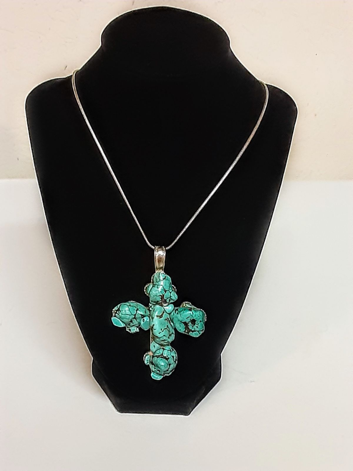 """Chunky Turquoise Cross Pendant on a 18""""."""