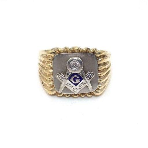 CRAFT 14K GOLD MEN'S DIAMOND MASON RING