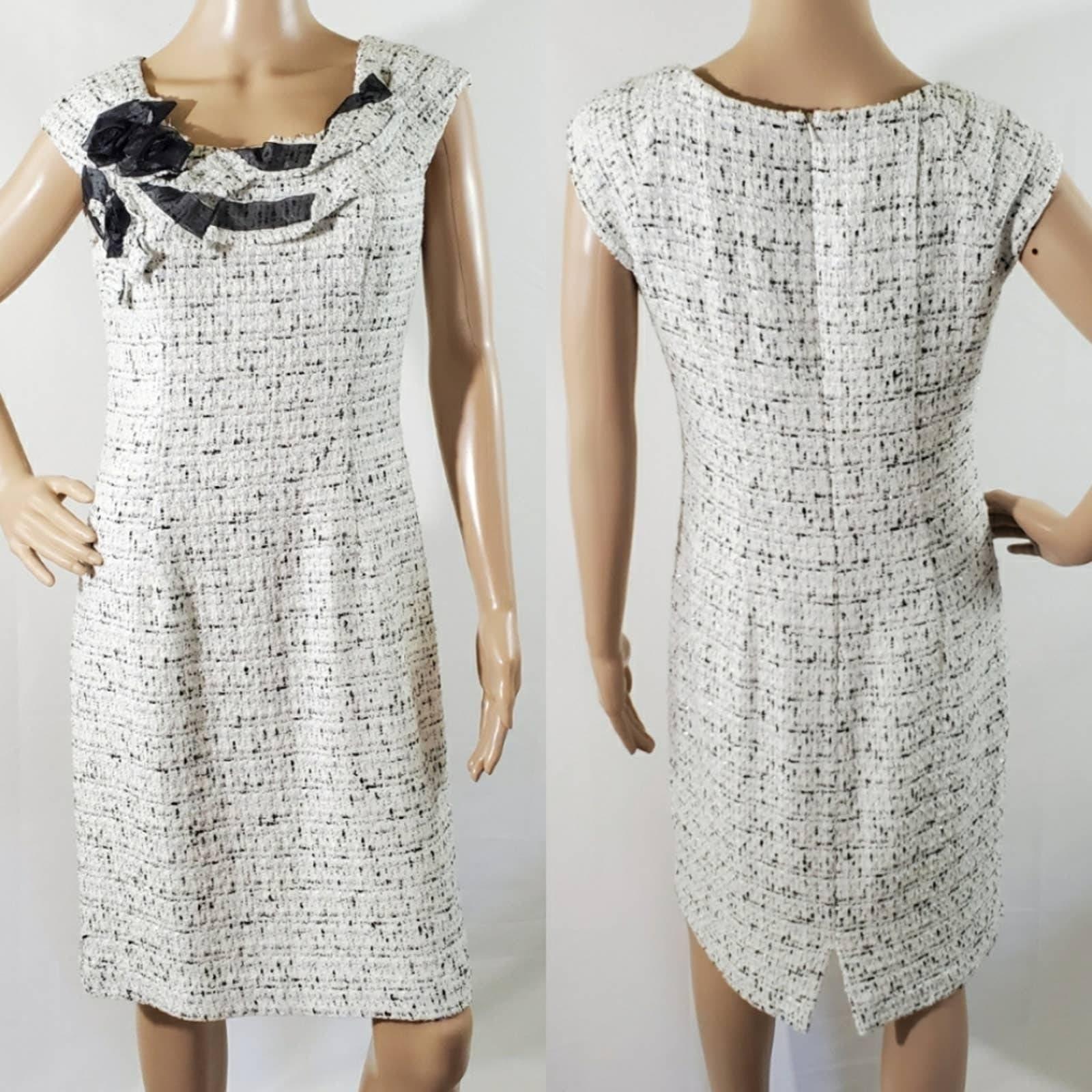 KAY UNGER NY White Tweed Midi Dress Sz 6