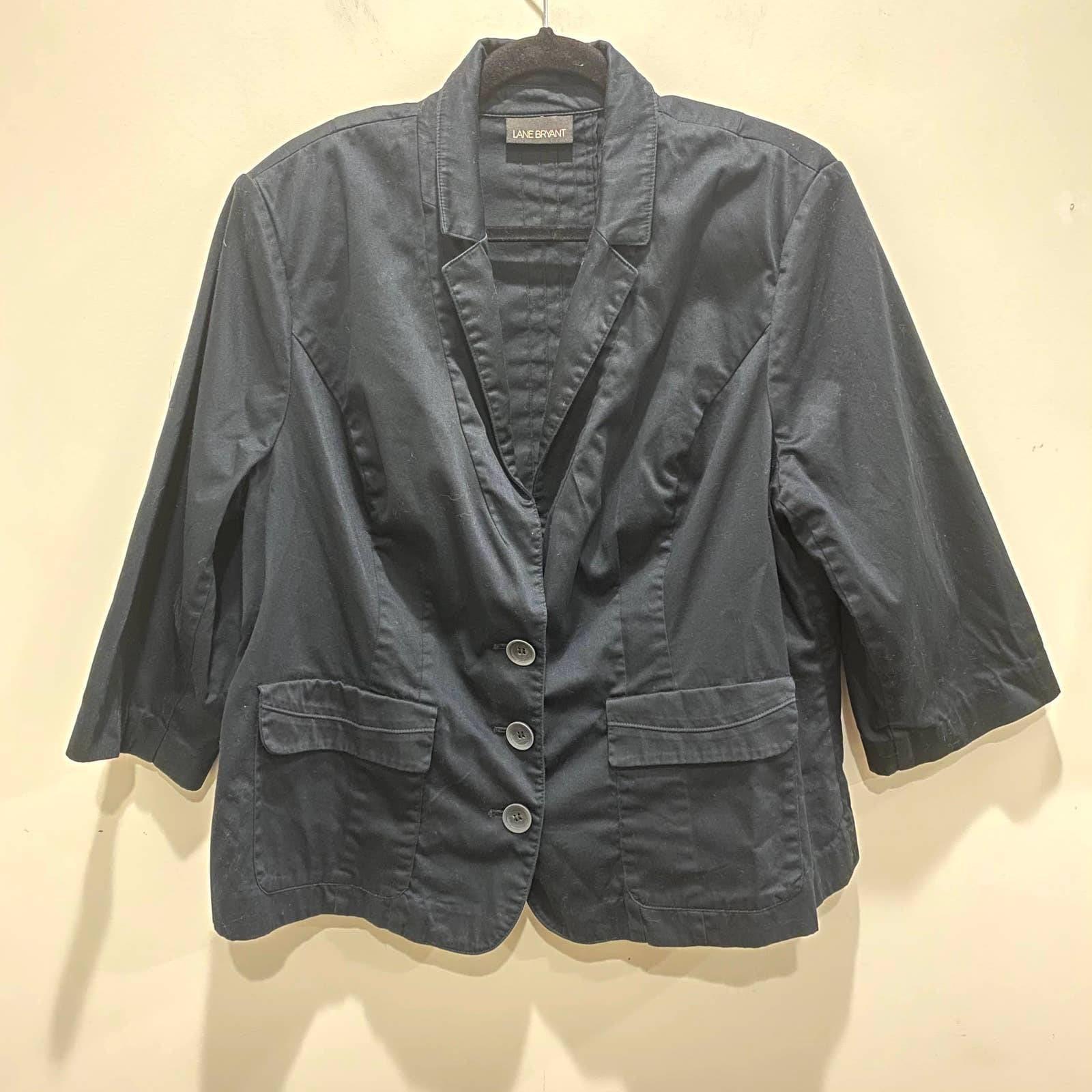 Lane Bryant Black 3/4 Sleeve Blazer