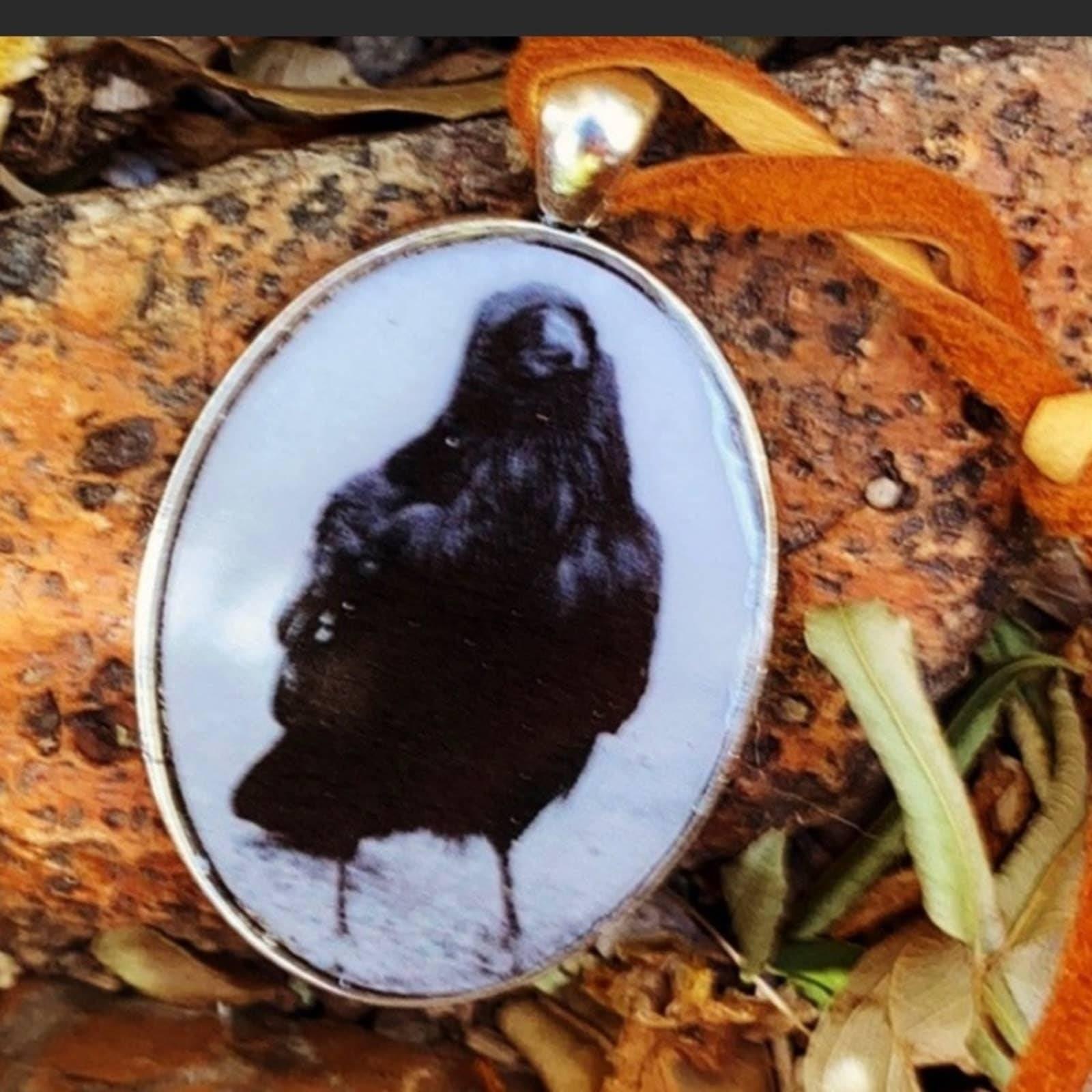 Black Crow Pendant Necklace Handmade