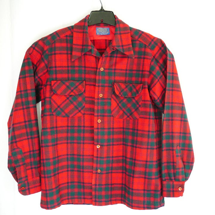 Vintage Pendleton Wool Board Shirt Loop Collar Flap Pocket Plaid Sz Medium