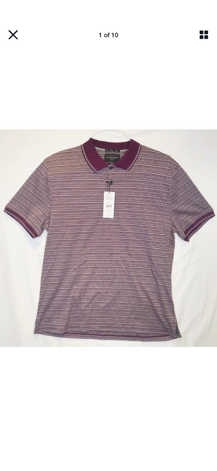 NWT BLACK BROWN 1826 Mens Large S/S Polo