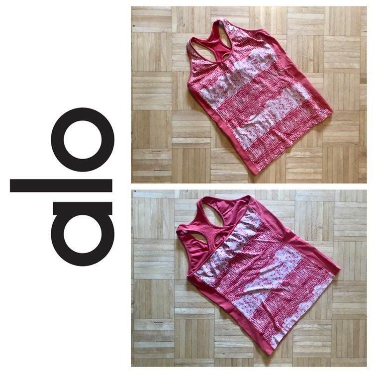 ALO Yoga red mosaic print bra tank M