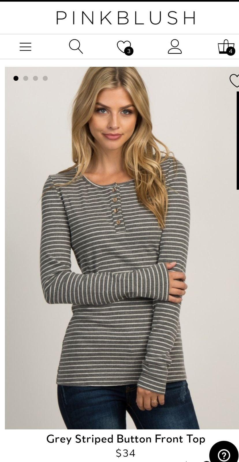 Pinkblush Small Striped Grey Henley NEW