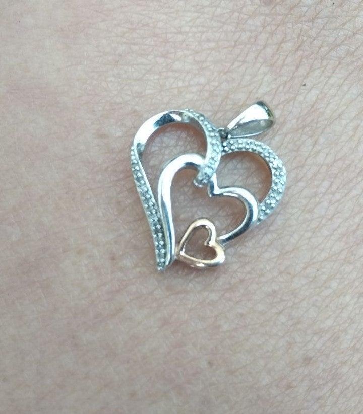 Sterling Silver heart pendant Sun . 925