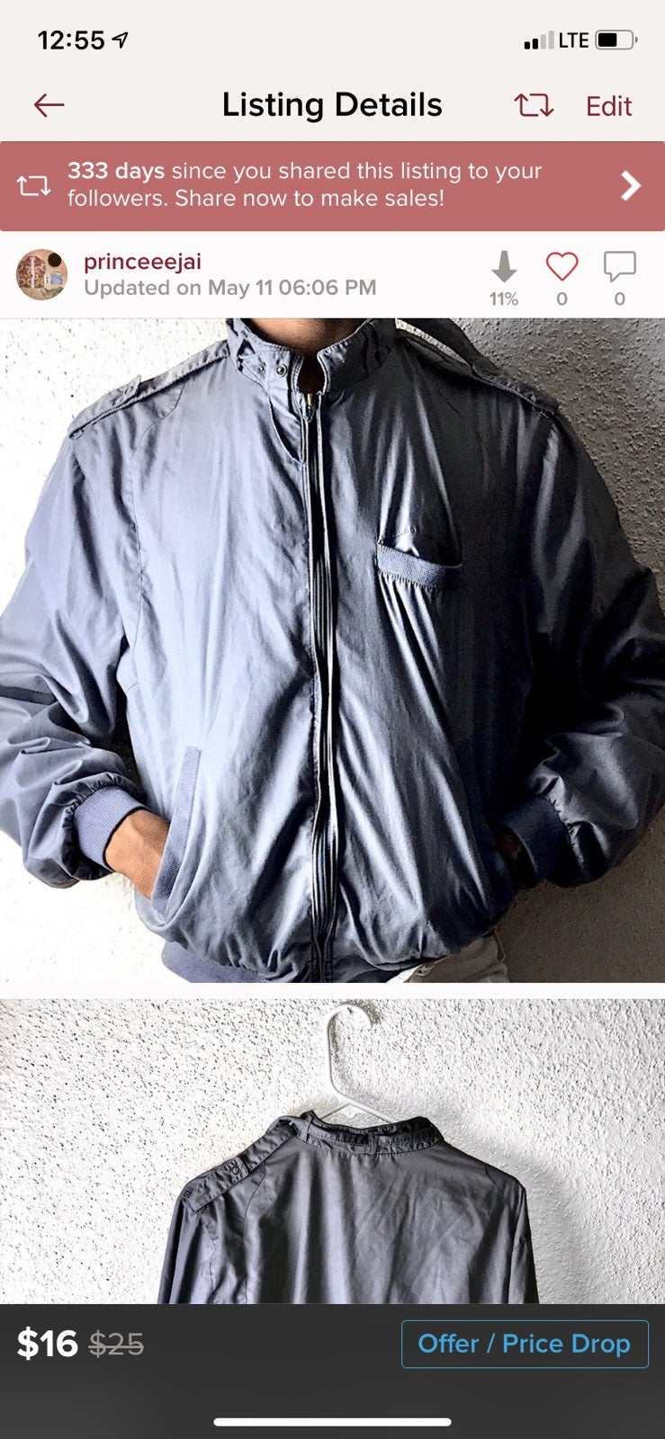Vintage grey bomber jacket