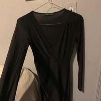 21acda7300 Black Plunge Neckline Dress