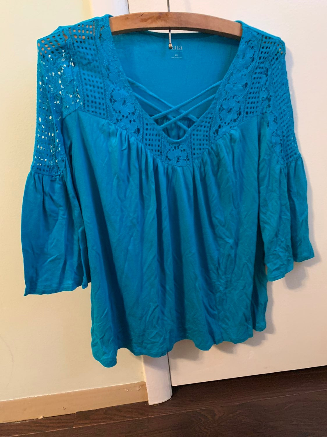 Blue A.n.a. Embroidered blouse with flar
