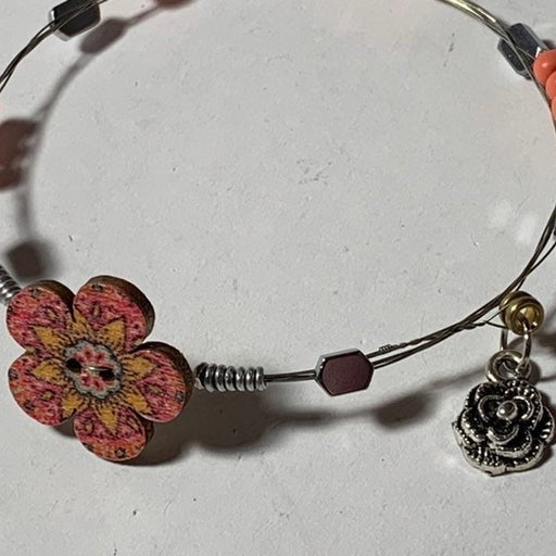 Handcrafted flower charm guitar string b