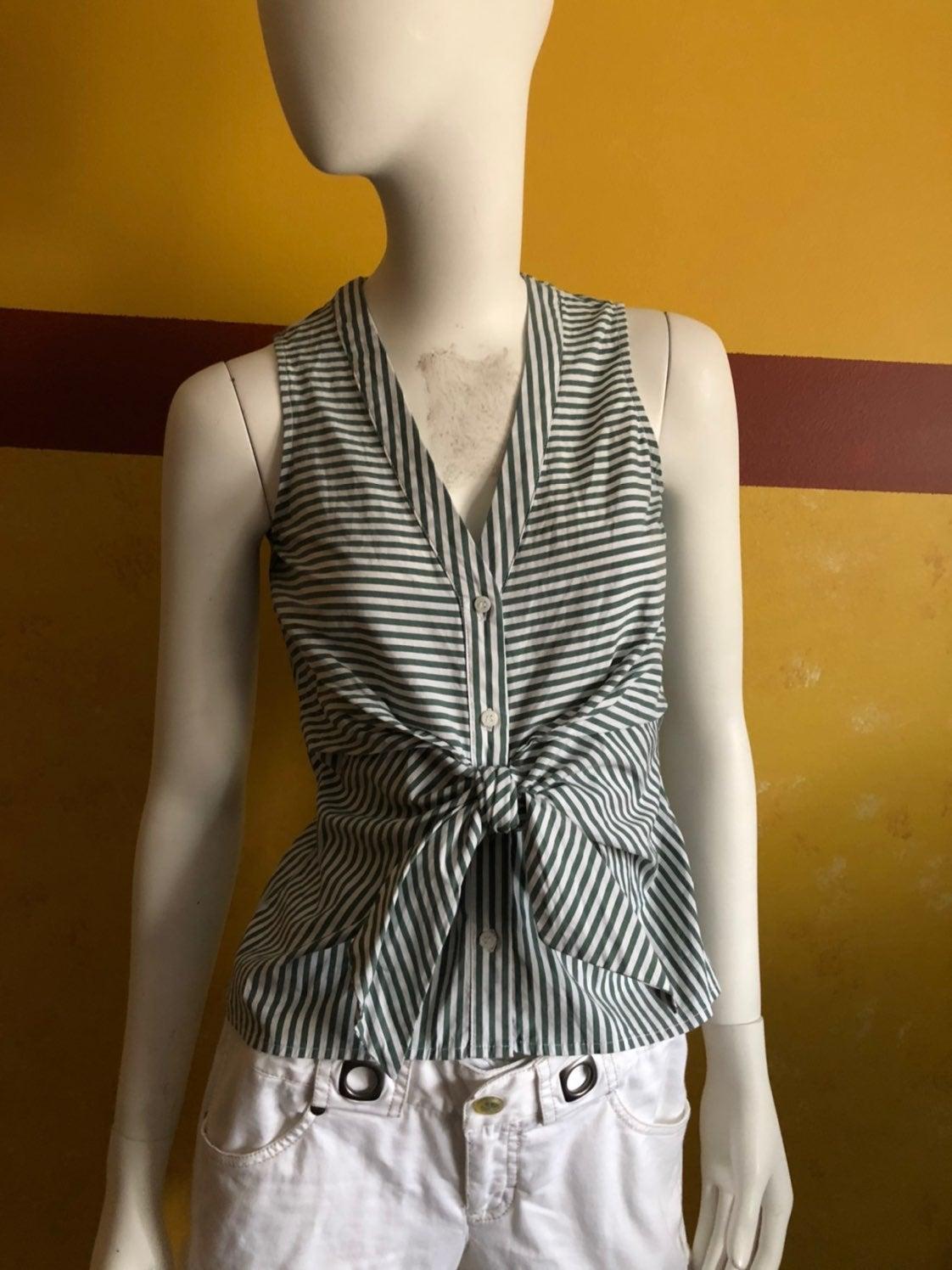 Bar llI green & white striped shirt