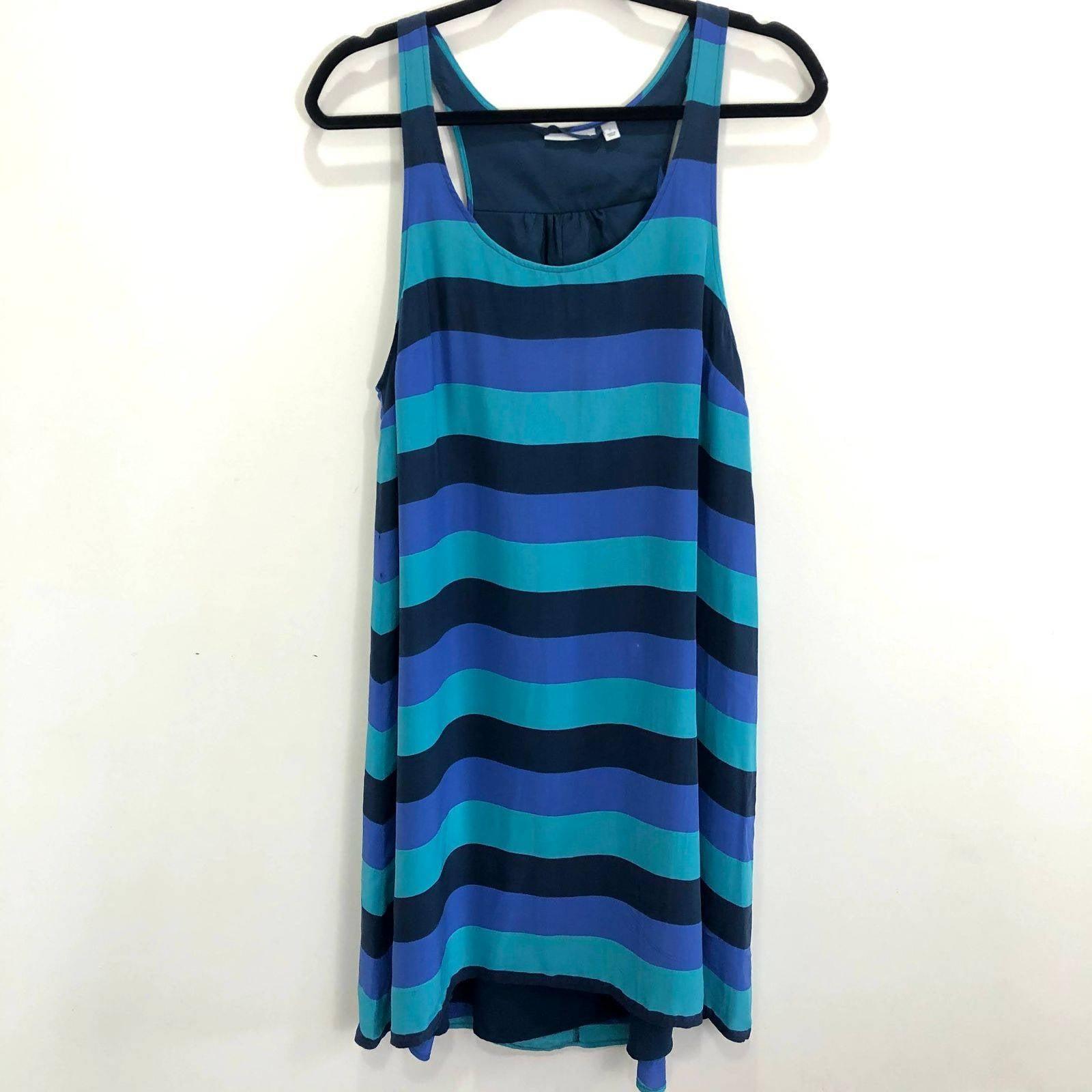 Halogen Blue Striped Trapeze Dress Small