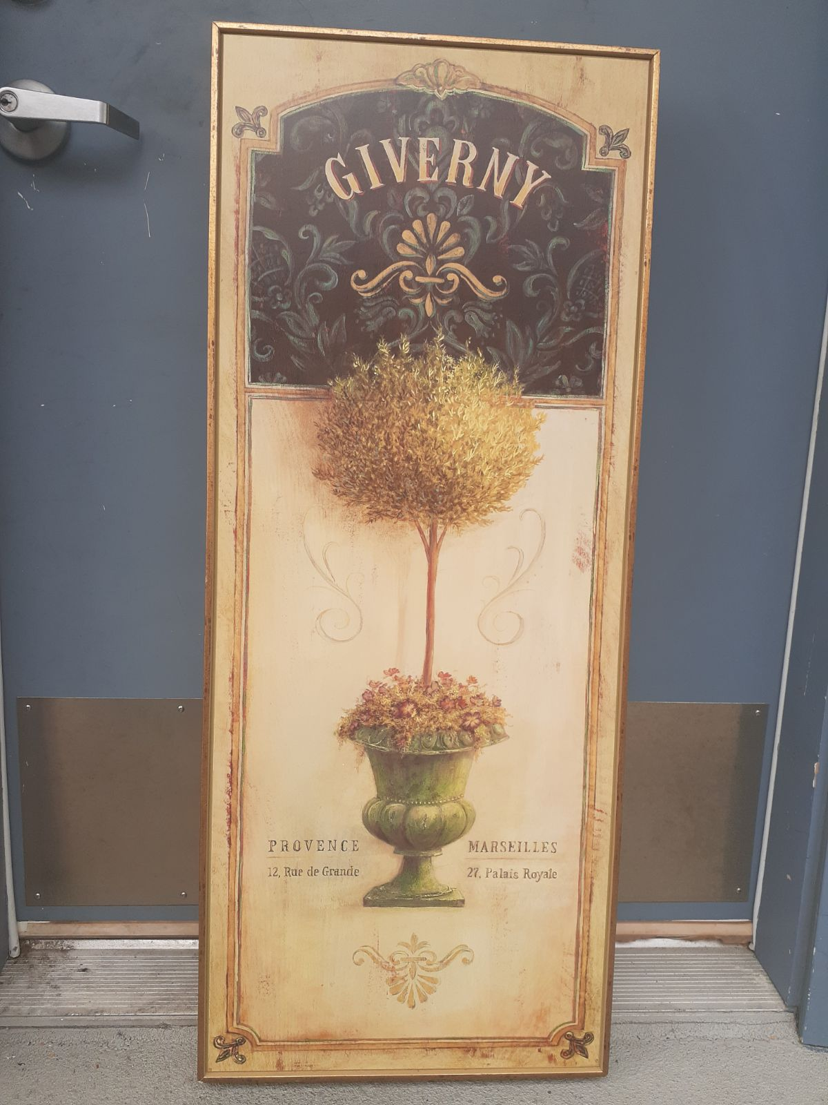 Giverny wood lithograph on wood frame