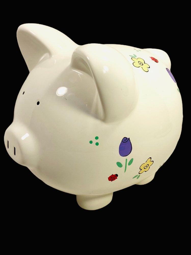 White Floral Ceramic Piggy Bank