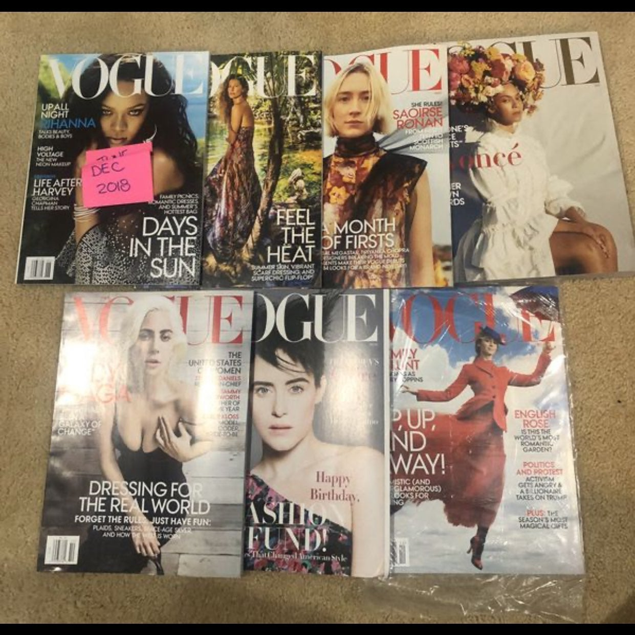 Vogue Magazines 2018 7 ISSUES NEW