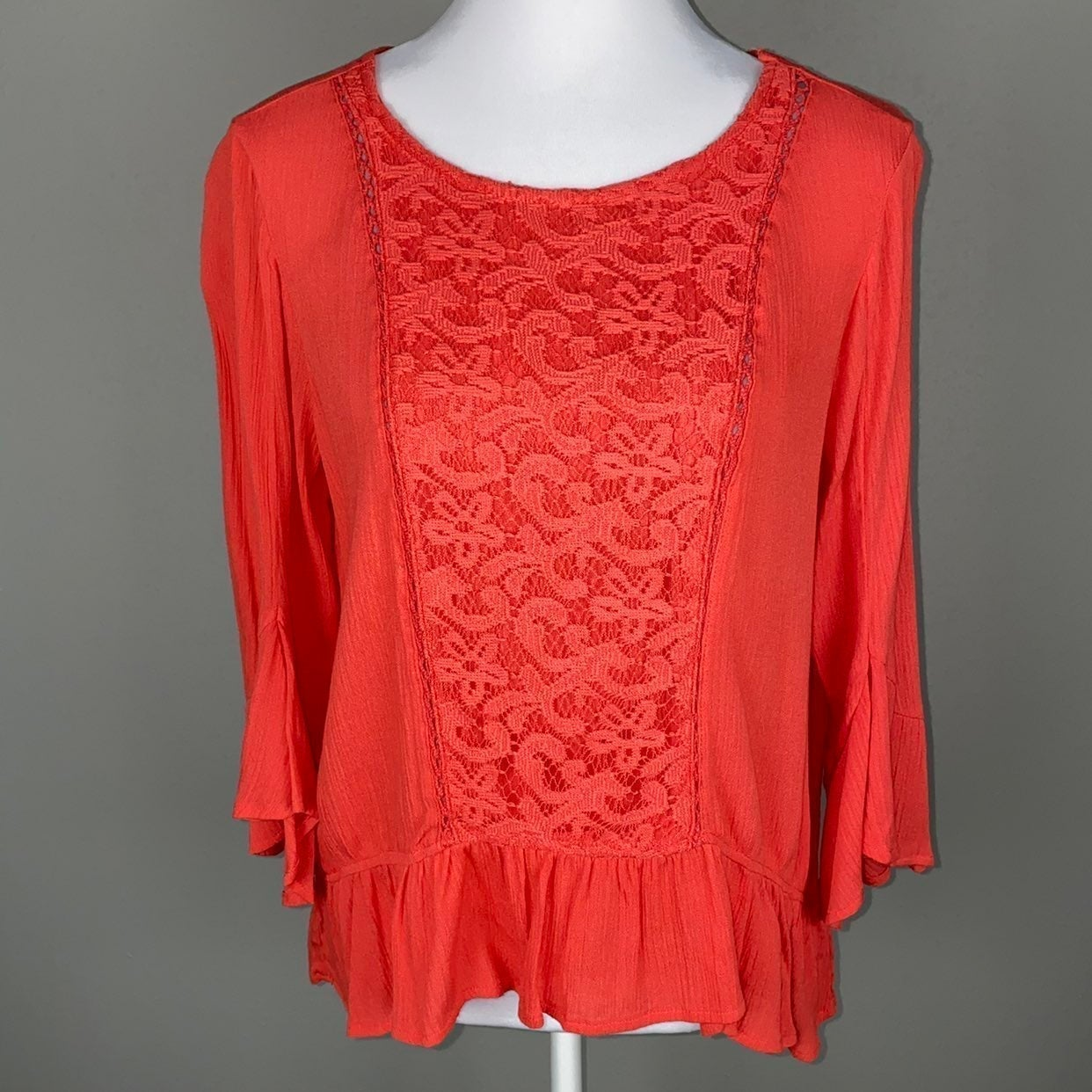 Coral Boho Lace Bell Sleeve Top