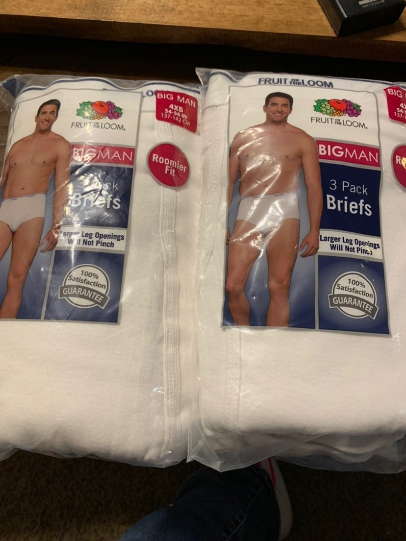 6 Big Man 4XB 54-56 White Briefs Fruit