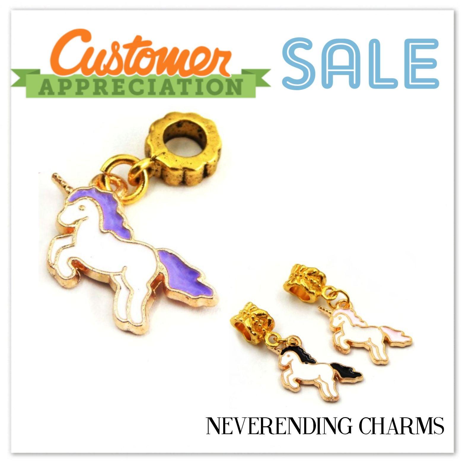 (3) Golden Unicorn Dangle Pendant Charms