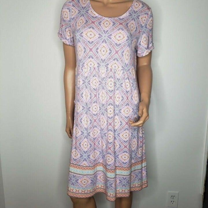 J. Jill Dress Geometric Print Pleated