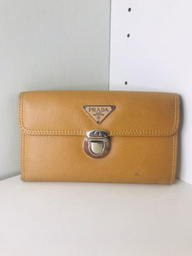 Leather Tan/Beige Prada Milano Wallet