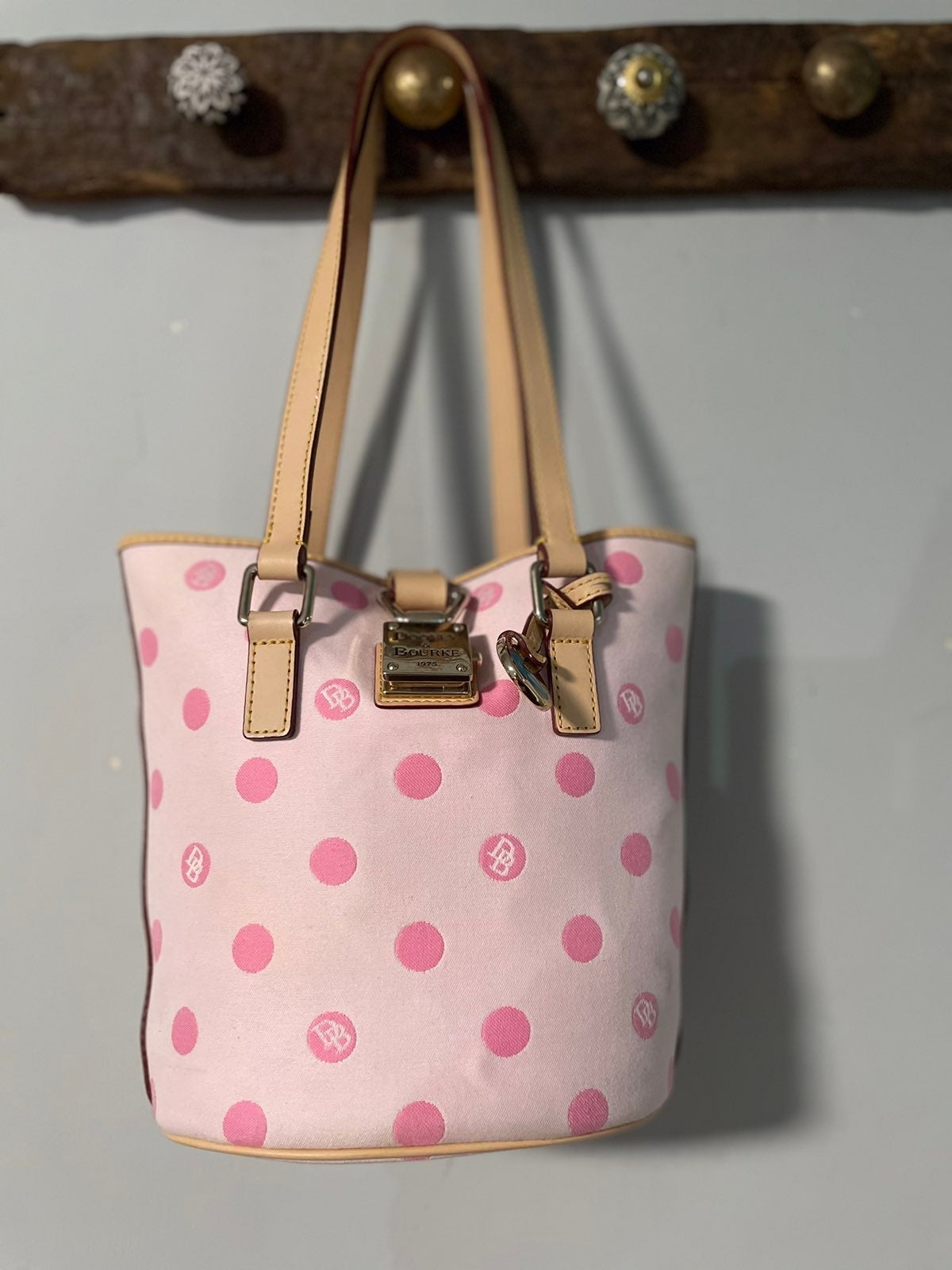 Dooney & Bourke polka dot bucket bag tot