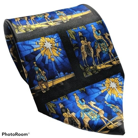 Three Wiseman Magi Christmas Star Tie