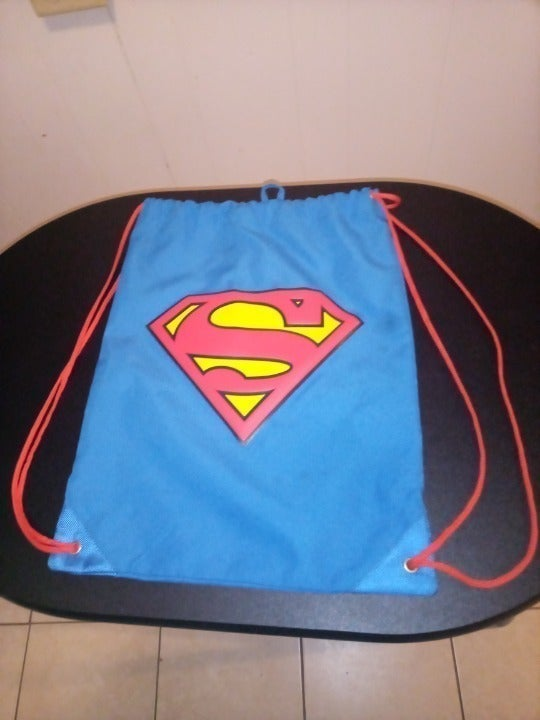 Superman Authentic Licensed Blue Drawstring Bag