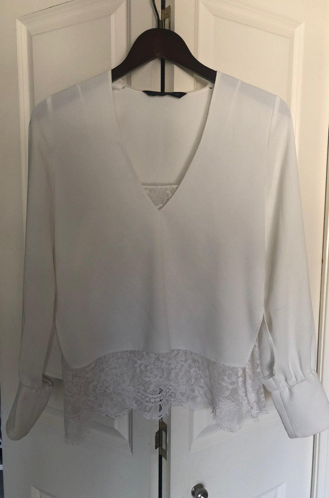 Zara white race blouse