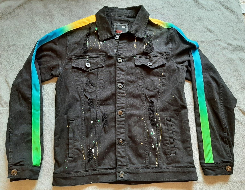 Mens XL black Jean Jacket