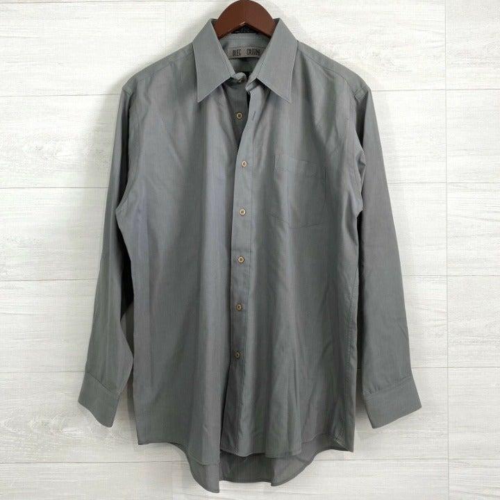 Oleg Cassini 16 32/33 L Gray Button Shir