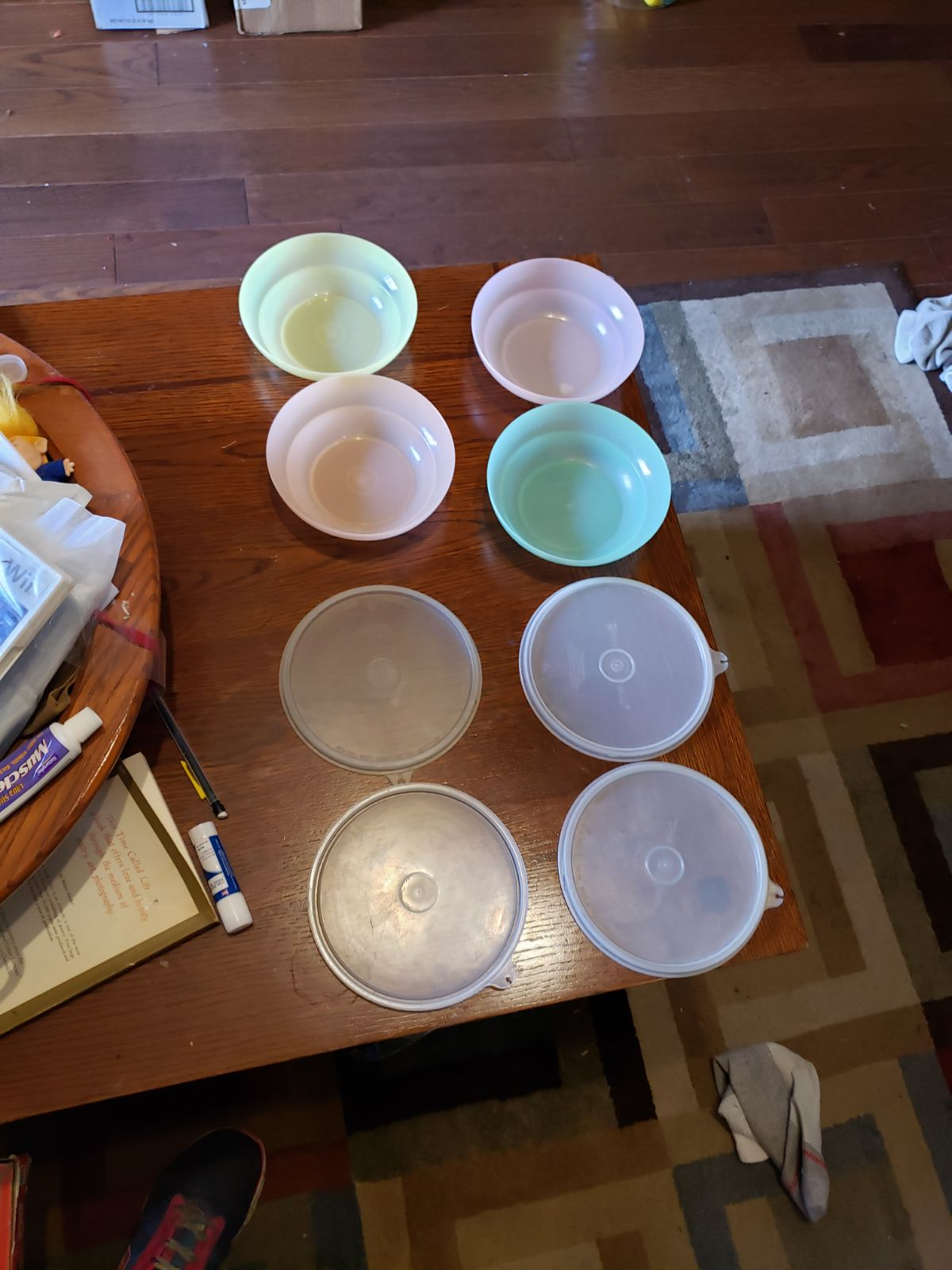 Tupperware bowls with lids, vintage