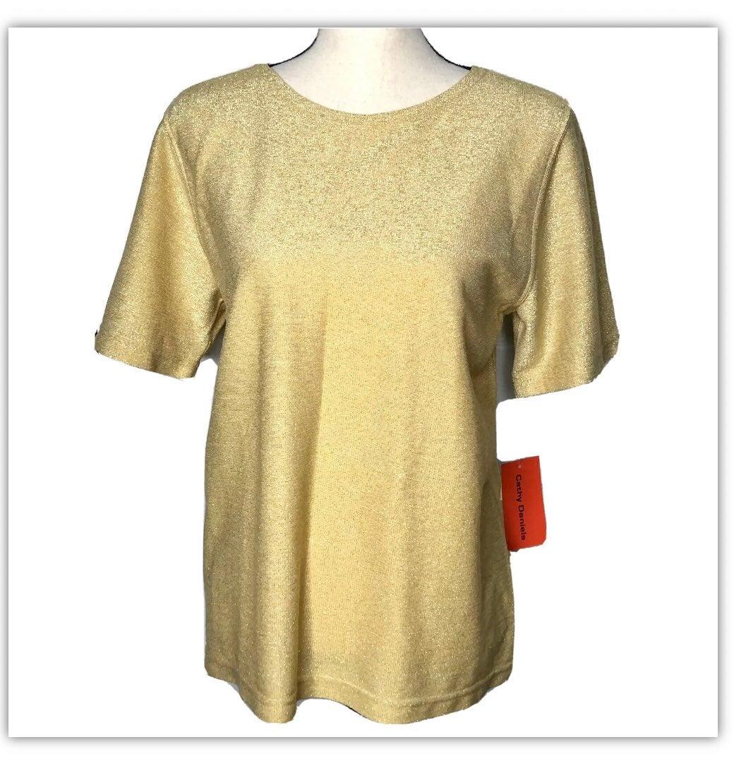 NWT Cathy Daniels gold metallic top