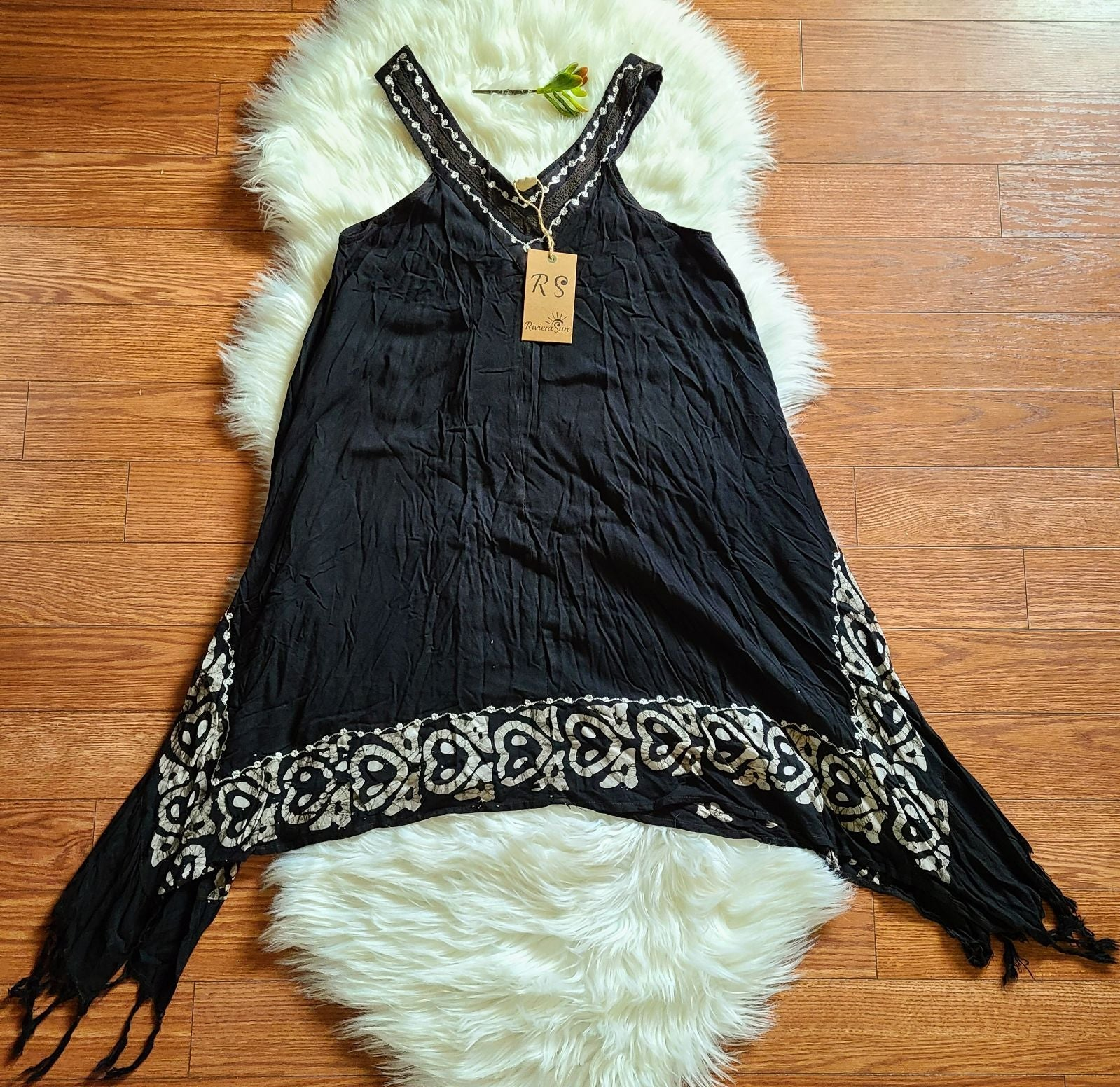 Bohemian Fringe Sleeveless Dress, NWT, S