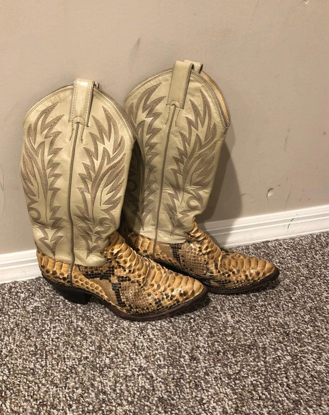 Vintage justin boots snake skin leather
