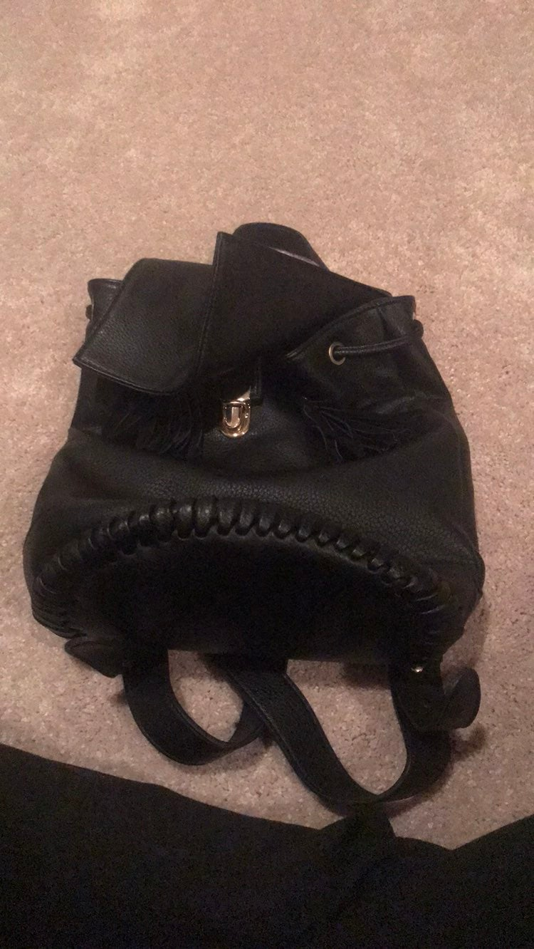 Urban Outfitters Black Leather Backpack