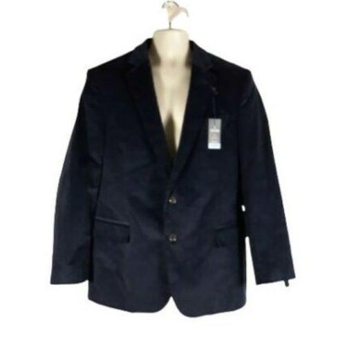 Stafford Sz 46R Classic Fit Sport Coat Blazer Jacket Corduroy Navy Stretch Men