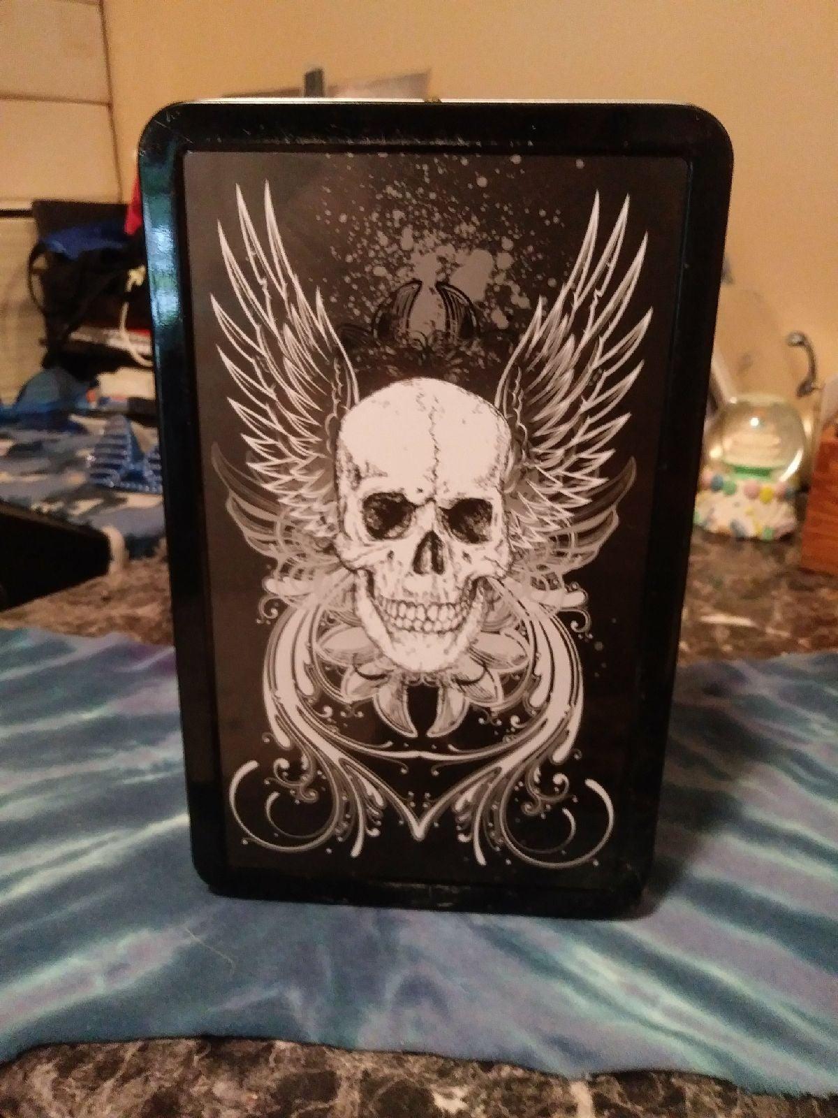 Winged Skull Black Latched Metal Box