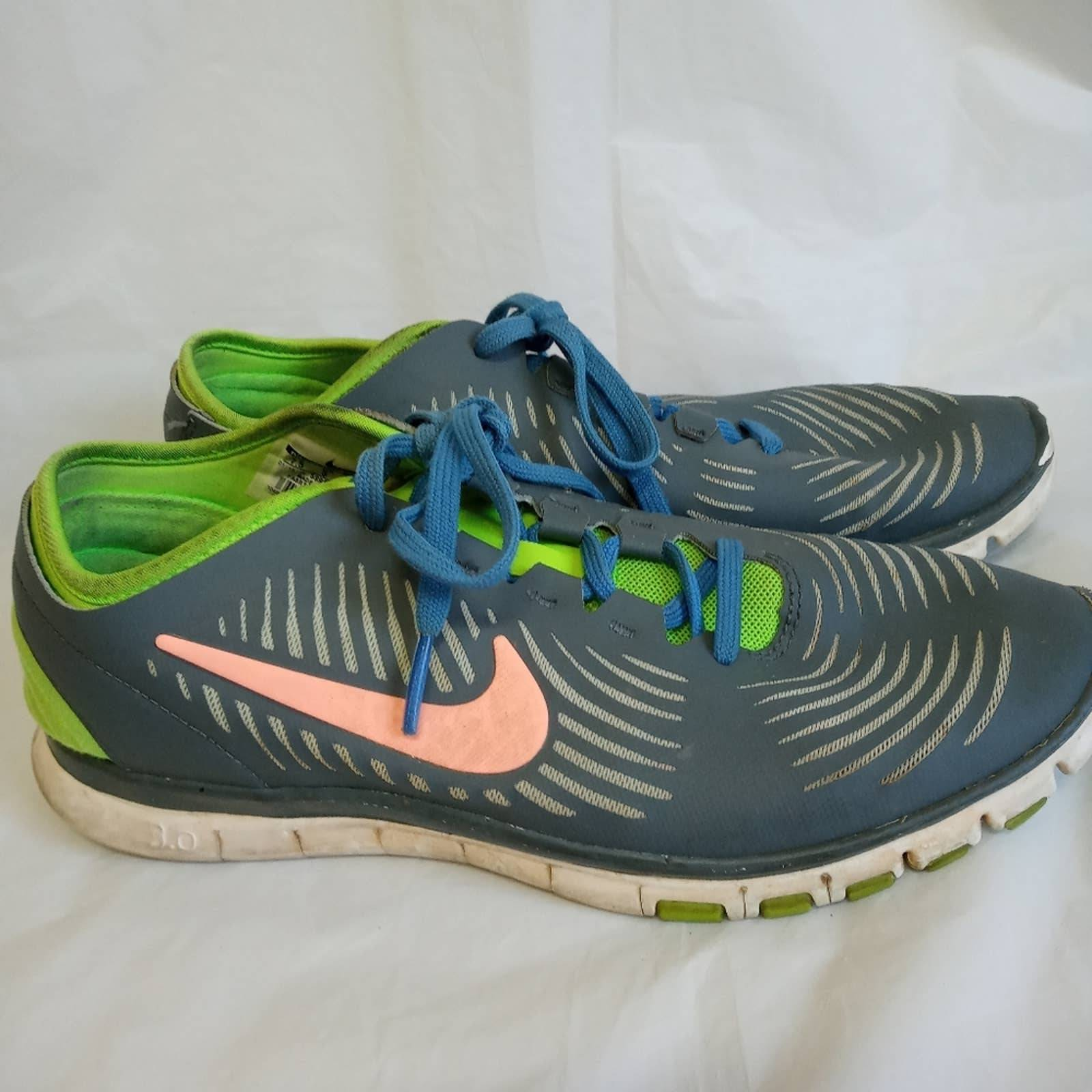 Nike Free Gray Green Blue athletic shoes
