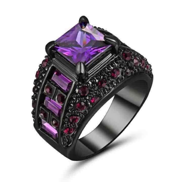 Purple Princess Black Gold Chunky Ring 9