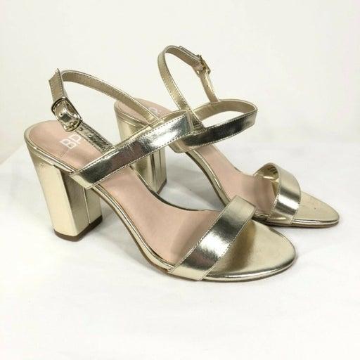 BP Sandals Block Heels Ankle Strap Open Toe Faux Leather Metallic Gold Size 6