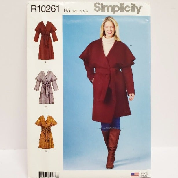 Simplicity 8990 Wrap Coat Pattern 6-14