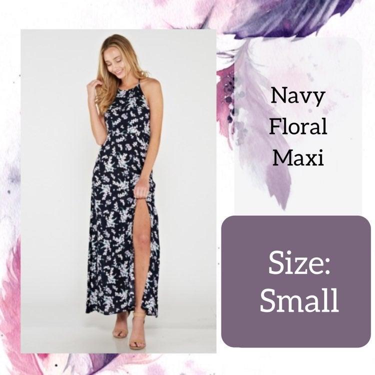 Small Navy Floral Maxi Dress
