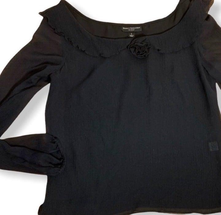 New Behnaz Sarafpour Black Blouse Rosett