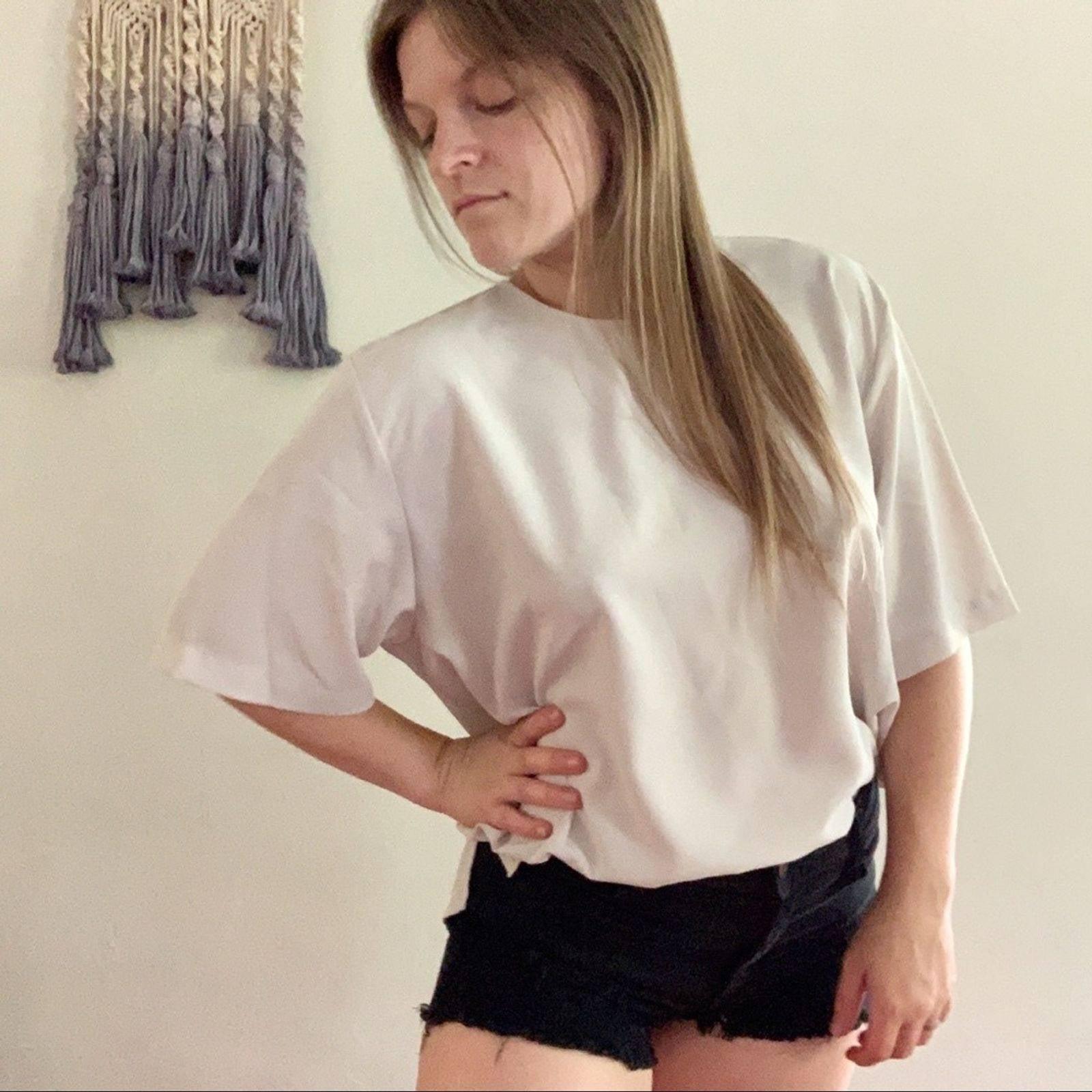 Vintage • cream boxy blouse oversized